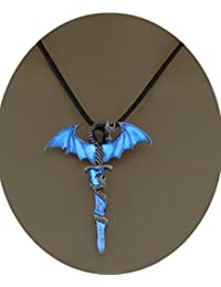 Glowing Cross necklace, dragon necklace, wing necklace, guardian cross, sword necklace