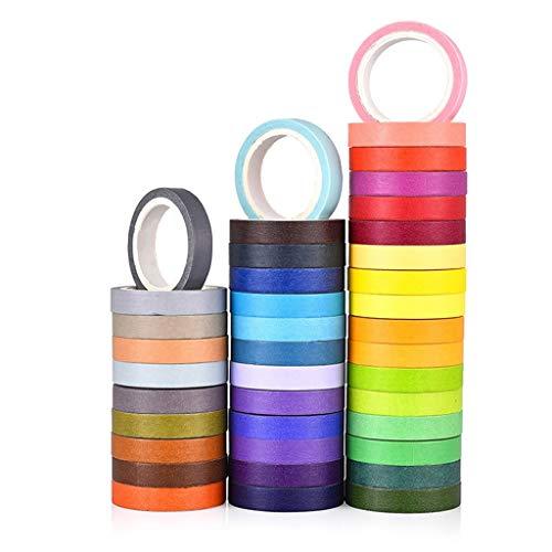 Nesee 40 Rolls Washi Tape Set,Rainbow Sticker Decorative Masking Tape for DIY Crafts,Decorative Writable Craft Tape (Best Glue For Craft Foam)