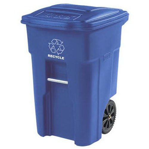 Toter 025548-R1BLU Residential Heavy Duty 2-Wheeled Recycling Can with Attached Lid, 48-Gallon, Blue