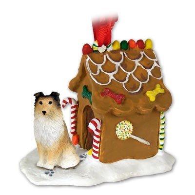 Eyedeal Figurines SHELTIE SHETLAND SHEEP Dog Sable NEW Resin GINGERBREAD HOUSE Christmas Ornament 20A