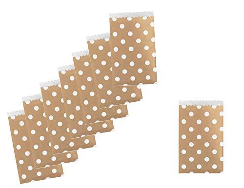 Kraft All Year Party Favor Mini Paper Treat Bag Bundle - Dots - 100 Total Bags