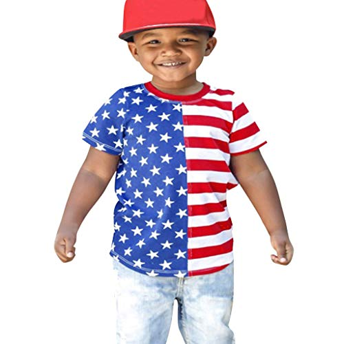 Kids Short Sleeve T Shirt Toddler Baby Boys&Girls 4th of July Stars Striped Patriotic Tops Clothes Outfits Red]()
