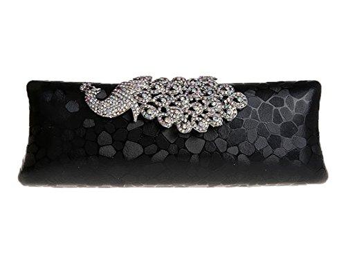 Whoinshop da donna, con brillantini, motivo: pavone, Evening Clutch Bag Nero (nero)