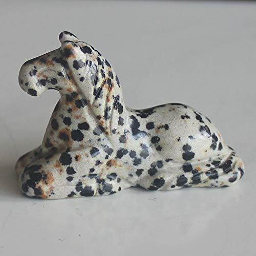 1.6'' Hand Carved Mixed gemstom Horse Figurine Animal Carving (Dalmation Jasper)