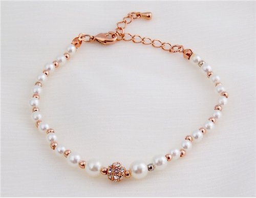 18k Gold Plated Crystal Decorated Pearl Alloy & Zircon Bracelet (Champagne Gold) M.+free Mini Time Projection Key Chain (White) M.