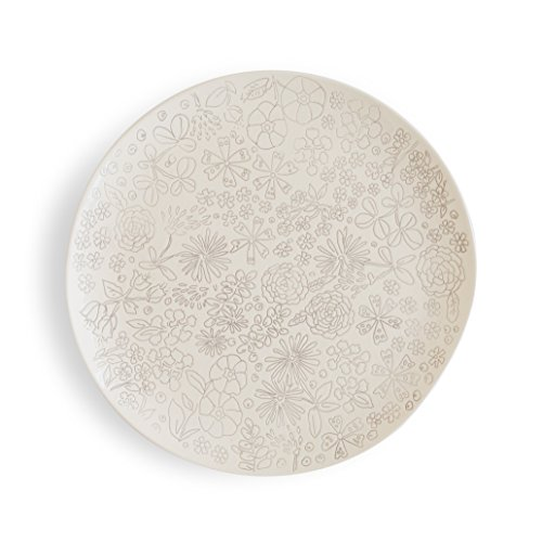 Pottery Ceramic (Dorotea 5215281 Hand Painted Dinner Plate, 10.75-Inch, Set of 4, White/Gray)