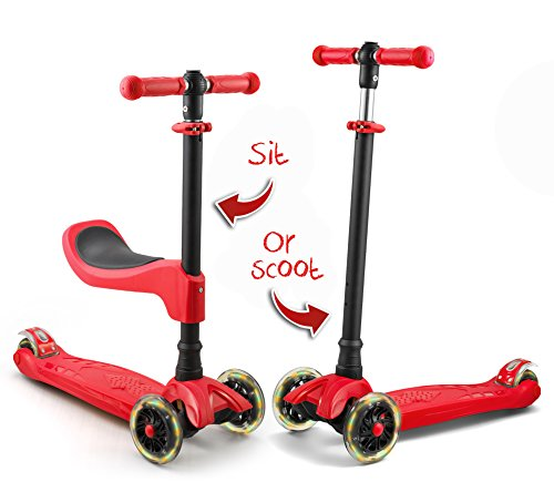 LaScoota 2-in-1 Kick Scooter with Removable Seat great for kids & toddlers Girls or boys  Adjustable Height w/ Extra-wide Deck PU Flashing Wheels . for Children from 2 to 14 Year-Old (Red)