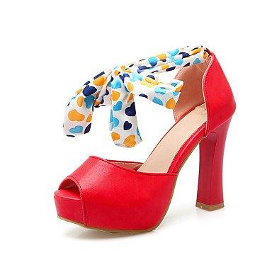 LvYuan Mujer-Tacón Robusto-Zapatos del club-Sandalias-Vestido Informal Fiesta y Noche-Semicuero-Rosa Rojo Beige Red