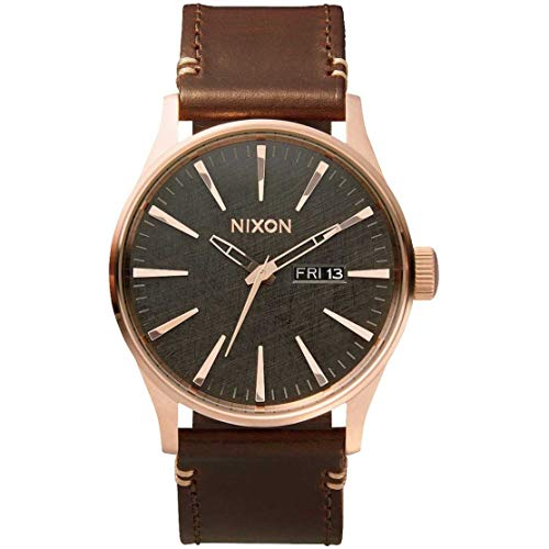 - Nixon Sentry Leather A1052001-00. Rose Gold, Gunmetal  and Brown Men's Watch (42mm Rose Gold/Gunmetal Watch Face/ 23mm Brown Leather Band)