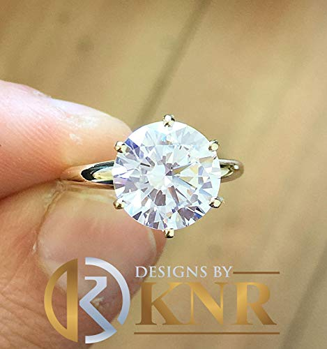 Huge 5.00 Carat 14k Yellow Gold Round Simulated Diamond Engagement Ring, Bridal, Wedding, Anniversary, Prong Set, Solitaire, Brilliant