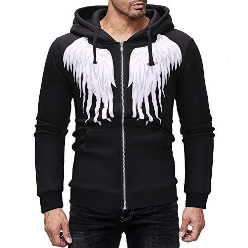 - SERYU Zipper Sweatshirt Men Autumn Winter Casual Wing Printing Hooded Jacket Coat