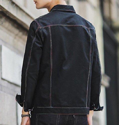 Coats Color Button Outerwear Black Howme Jacket Pure Denim Men Jean Oversized zH5x8T