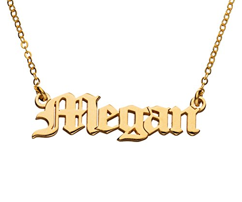 Old English Name Necklace - 24K Gold Plated - Personalized Custom Made Nameplate Charm Chain