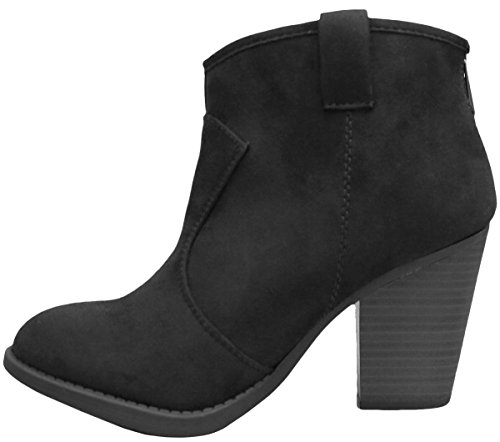 Cambridge Select Womens Western Country Stacked Chunky Heel Ankle Bootie Black Imsu gzBMsTW5
