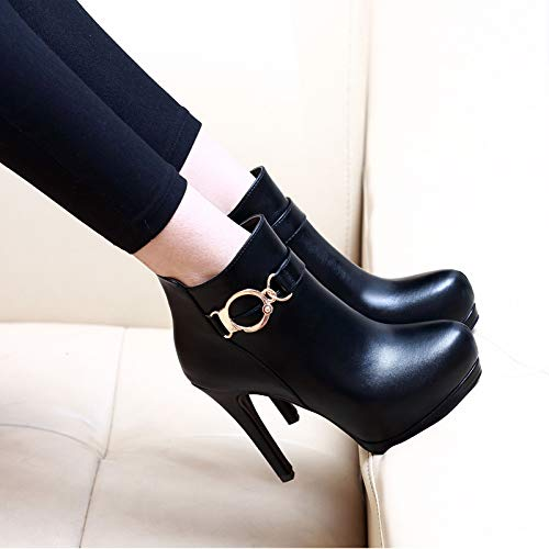 Appuntito Black Donna Stivali Lbtsq Breve A 11cm Scarpe High Sexy Poco Da joker Impermeabile Shoes Piattaforma Heeled Slim E qwU1wzT