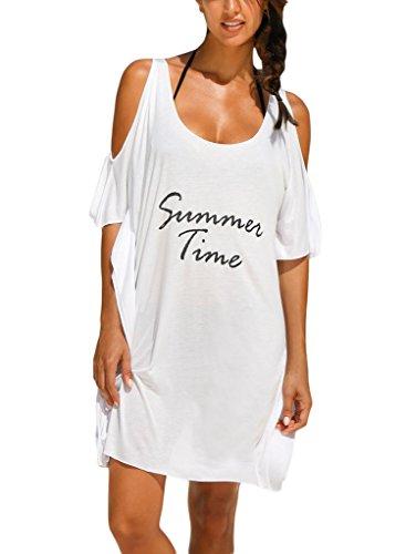 Sidefeel Women Cold Shoulder T-shirt Beachwear Cover-ups Swimsuit One White 1