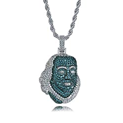 White Gold Plated Ben Franklin Pendant with Rope Chain