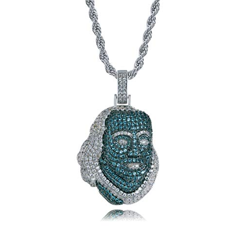 JINAO 18K White Gold Plated Iced Out Cubic Zirconia Heroes in History - Ben Franklin Pendant Necklace with Rope Chain