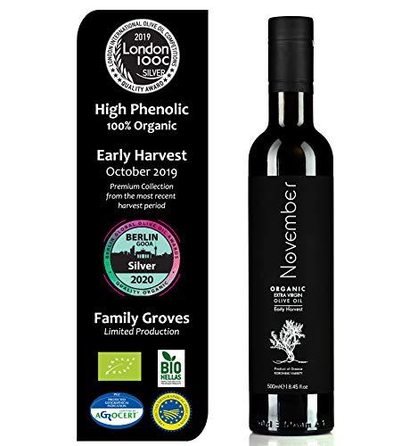 November Organic Olive Oil – Early Harvest – Awarded for Best Quality & Health Benefits – Fresh Harvest – BIO – Premium…