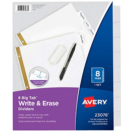 Avery 8-Tab Binder Dividers, Write & Erase White Big Tabs, 1 Set (23078)