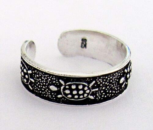 Sterling Silver Antiqued Turtle Adjustable Toe Ring Size Small