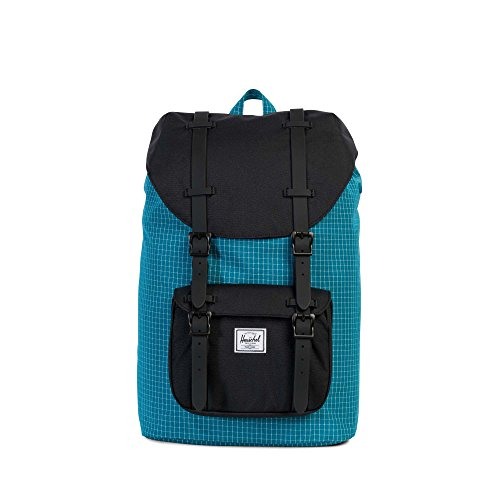 Herschel Supply Co. Little America Mid-Volume, Ocean Depths Grid/Black/Black Rubber