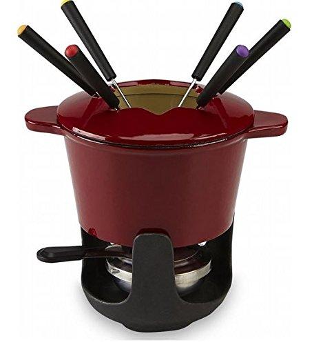 bella 10 piece enamel cast iron fondue set