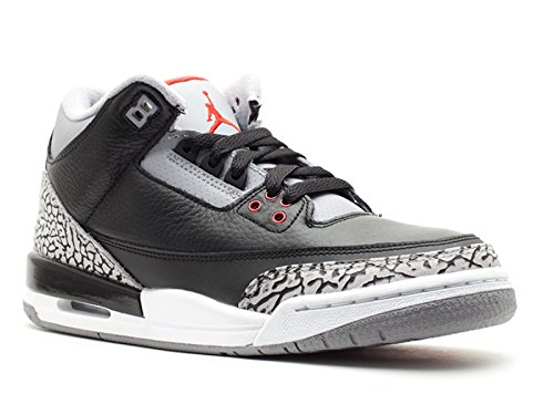 Nike Air Jordan 3 Retro (GS) Notebook Big Kids Basketball Shoes [398614-010] Black/Varsity Red-Cement Grey Boys Shoes 398614-010-5 ()