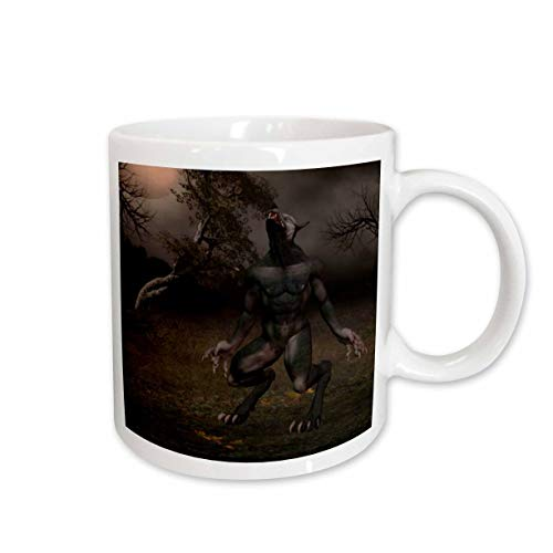 3dRose Renderly Yours Autumn And Halloween - Werewolf Howling At The Moon - 15oz Mug (mug_28912_2)