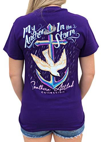 - Southern Attitude My Anchor in The Storm Cross Anchor Purple Women's Short Sleeve T-Shirt (Medium)