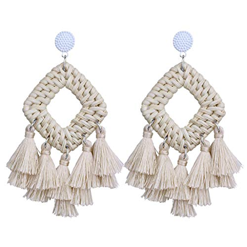 FEDULK Womens Bohemia Jewelry Tassel Earrings Statement Dangle Ethnic Fringe Weaving Square Sector Earrings(Beige)