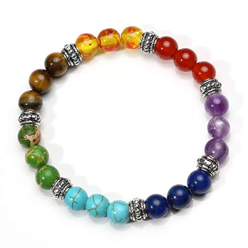 Eletina vipool 7 Chakra Diffuser Bracelets Set for Women Men Reiki Healing Meditation Lava Rock Stone -
