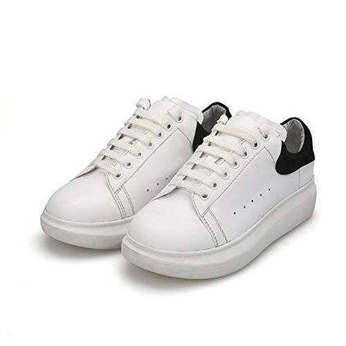 ZHZNVX Zapatos de Mujer Nappa Leather Spring/Summer Comfort Sneakers Flat Heel Cerrado con Punta Blanca/Negra / Blanca/Morada Black