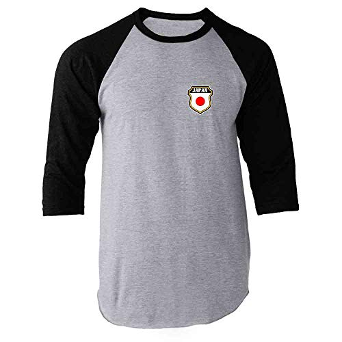 Japan Soccer Retro National Team Black L Raglan Baseball Tee Shirt