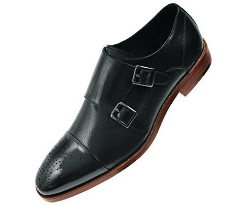 Asher Green Mens Dress Shoes, Genuine Calf Leather Cap Toe, Double Monk Strap,Style AG1101 Black