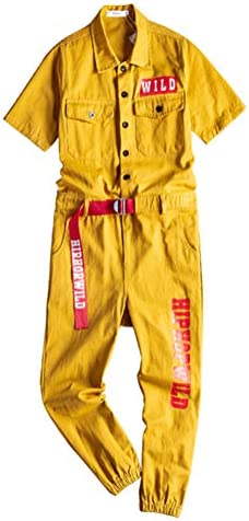 GINZOUS Men`s Short Sleeve Joggers Hip Hop Jumpsuits