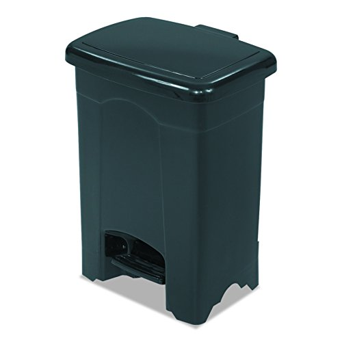 Safco Products 9710BL Plastic Step-On Trash Can, 4-Gallon, Black