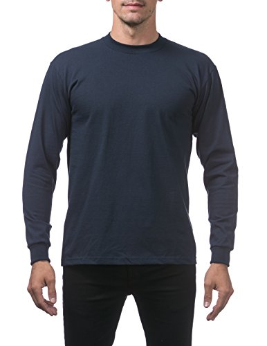(Pro Club Men's Heavyweight Cotton Long Sleeve Crew Neck T-Shirt, 2X-Large, Navy)