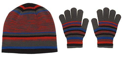 (Capelli New York 2 Piece Set: Mixed Stripes Acrylic Skull Cap & Magic Gloves Black Combo 8-18)
