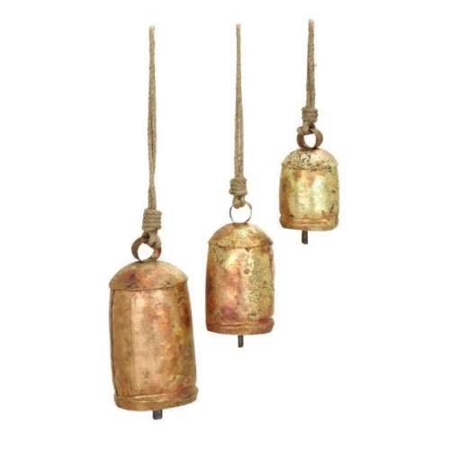 Yard Bell (Rustic Iron Noah Temple Bells Set Metal Clapper Rope Hanger Yard Tree Vintage Chime)