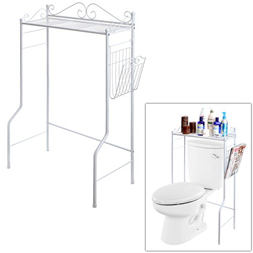 Space Saver Design Metal Storage Organizer Rack / Freestanding Bathroom Shelf w/ Magazine Basket, White (Space Over White Saver Toilet Bathroom)