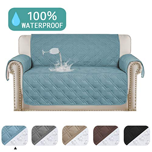 """Turquoize 100% Waterproof Loveseat Cover for Leather Couch Quilted Furniture Protector Stay in Place Strapless Couch Cover Prevent Stains Couch Furniture Cover (Oversize Loveseat,Blue,75""""x98"""")"""