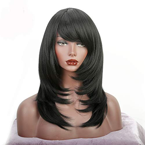 Wiginway Short Wig with Oblique Bang Natural Yaki Straight Synthetic Wigs for Women Black Wig Heat Resistant Natural Fiber
