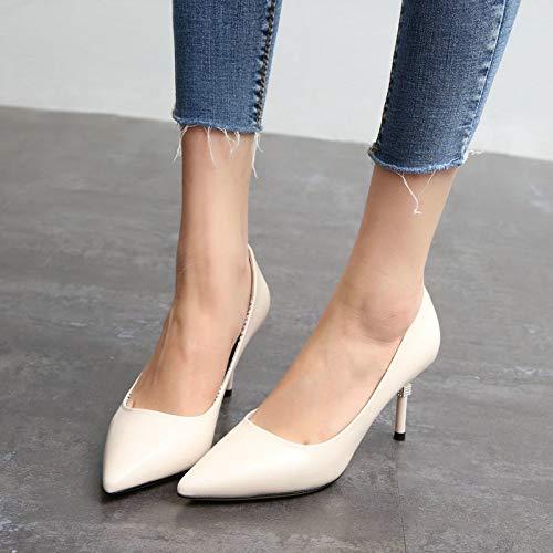 sexy alto lavoro bene tacco delle signore scarpe da superficiale sottolineato con Semplice scarpe bocca moda A YMFIE strass S8wP44q