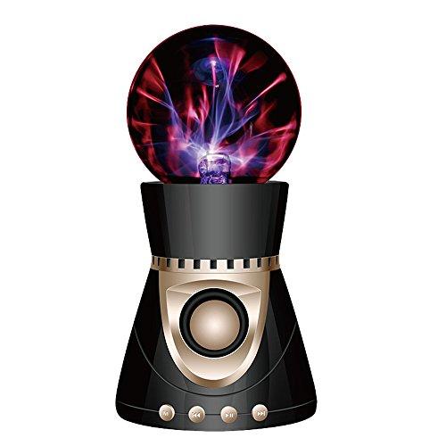 ElementDigital Magic Plasma Ball Touch Sensitive Plasma Ball with Bluetooth Speaker Desdtop Light Lightning Lamp Party Xmas Gift Fantastic Flashing Lightning Ball Spherical (Black+Gold)