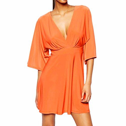 Rueckenfreies Sexy Ausschnitt Orange Frauen Aermel V Kleider Clubwear 4 3 Tiefem Kurze Waisted