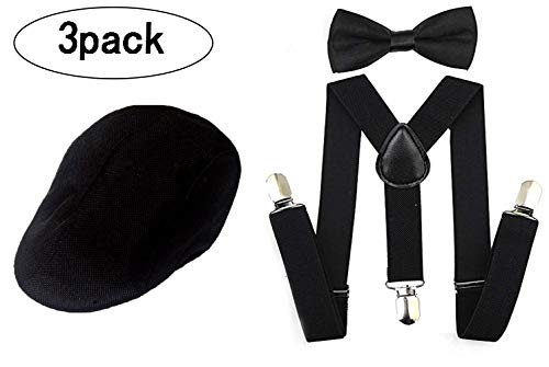 1920s Set Fedora Gangster Hat Costume Accessory Y-Back Suspenders & Pre Tied Bow Tie,Men's Roaring 1920s Set Manhattan Fedora Hat Men (Black)