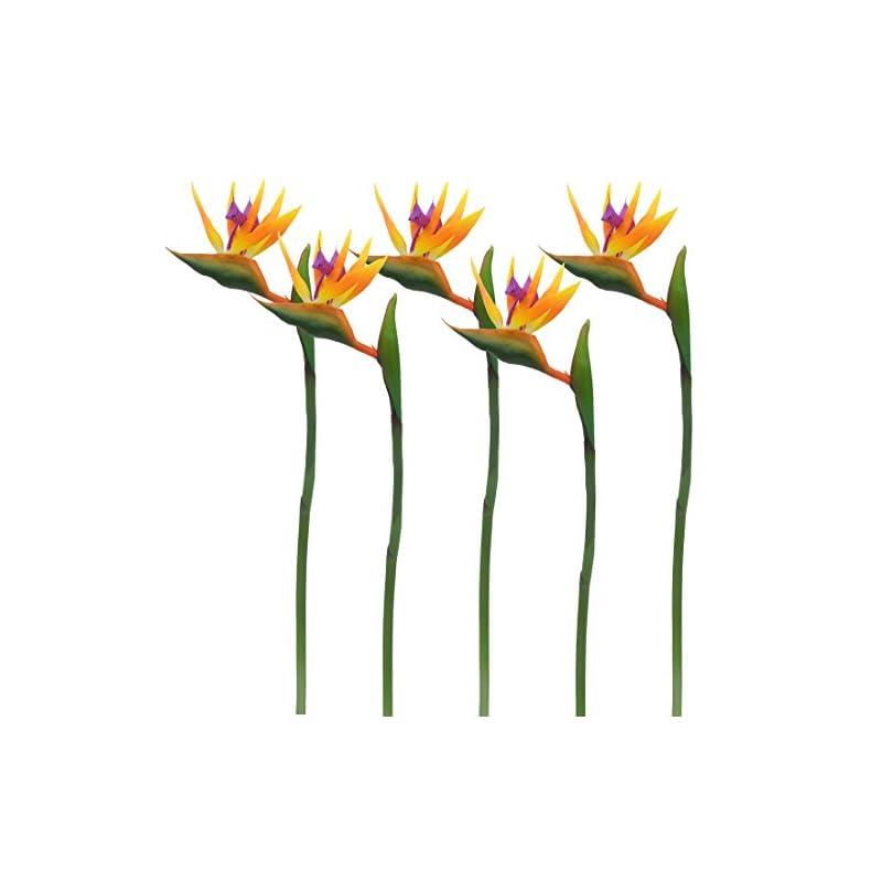 silk flower arrangements calcifer 32'' real touch bird of paradise artificial flowers bouquet for home garden decoration/wedding party decor orange (package quantity: 5 stems)
