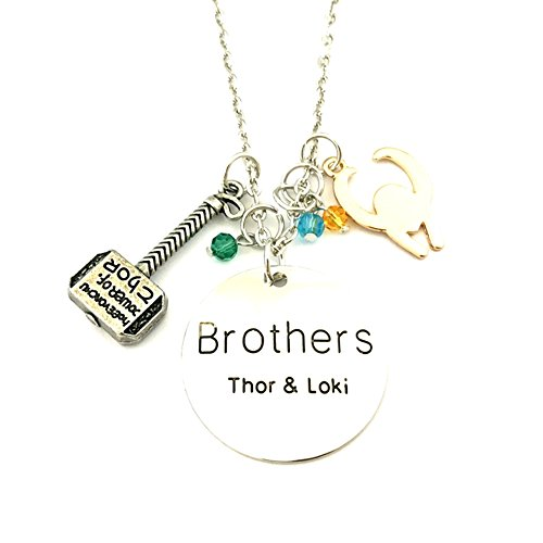 New Horizons Production Marvel's Thor & Loki Brothers Pendant Necklace W/ Charms
