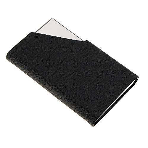 Acero Pu Baosity Tarjetas Portátil Nombres Cuero De Portatarjetas Identificación Caja Inoxidable B crédito Negro 08Axqnq